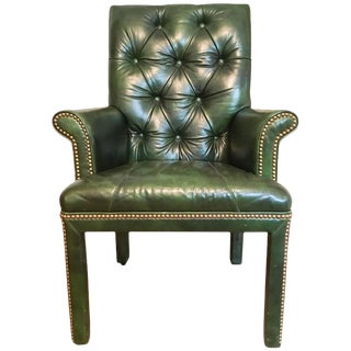 Emerald Green Moore & Giles Leather Tufted Armchair