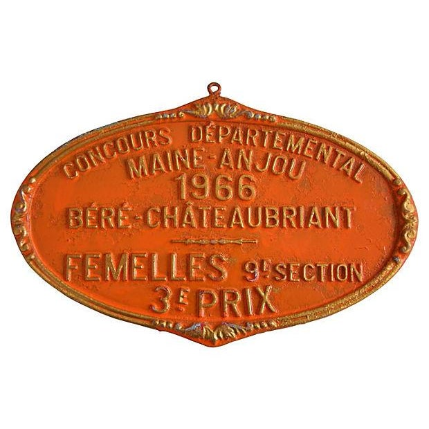 Image of Vintage French Prize Trophy Award Plaque, 1966