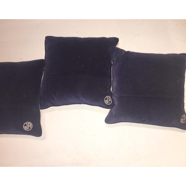 Rare Jonathan Adler Blue Flower Pillows - Set of 3 - Image 5 of 6