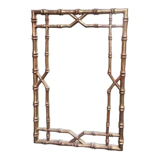 Vintage Faux Bamboo Chinese Chippendale Hollywood Regency Style Gilt Mirror