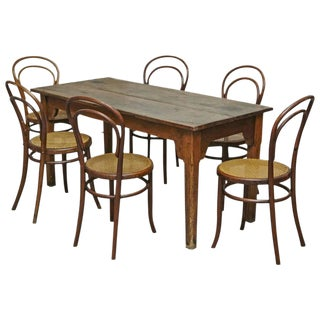 Set of a Catalan Table and Six Chairs after Thonet by Fischel, Kohn and Unknown