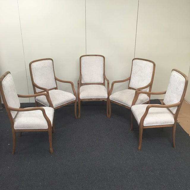 White Upholstered Ribbed Wood Chairs - Set of 5 - Image 2 of 8