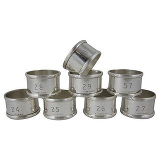 English Silver Plate Napkin Rings - Set of 8