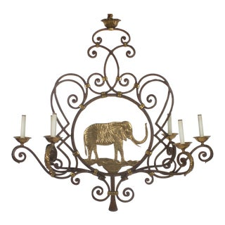 Iron and Brass Elephant Chandelier