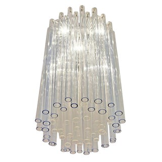 Blue and Clear Glass Venini Chandelier, Italy, 1960s