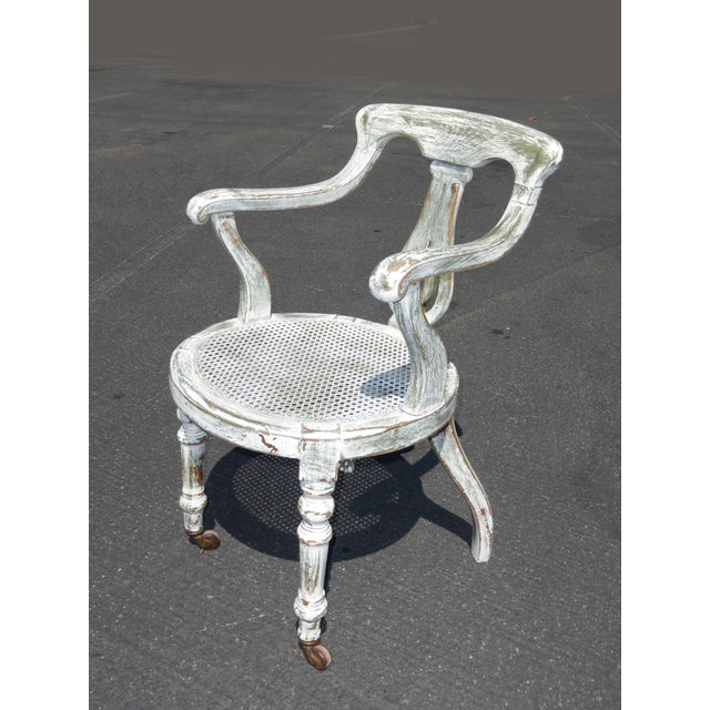 French White Cane Accent Arm Chair on Castors - Image 4 of 11