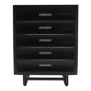 Five Drawers Ebonized High Chest Floating Over Frame Shape Base