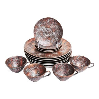 Dorothy C. Thorpe Copper Gold Dinnerware Set - Set of 15