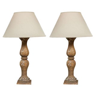 Pair of Cast Iron Balustrades, French, 1800 Mounted as Lamps with Custom Shades