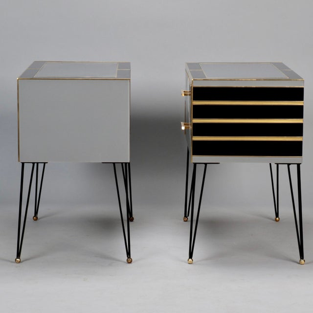 Pair of Italian Two-Drawer Cabinets with Murano Glass and Brass Inlays - Image 6 of 11