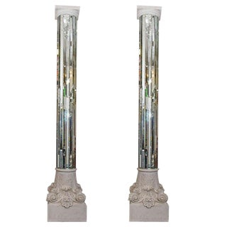 AMAZING MODERN NEO CLASSICAL MONUMENTAL PAIR OF MIRRORED WHITE COLUMNS