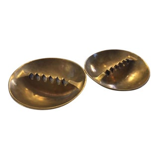 Vintage Mid-Century Brass Ashtrays - A Pair