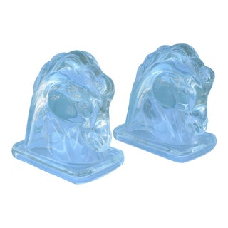 Art Deco Glass Horse Bookends - a Pair