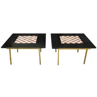 Pair of Excellent Marble Chess Top Brass Sidetables