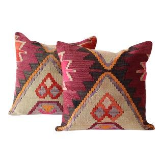 Magenta Turkish Kilim Cushions - A Pair
