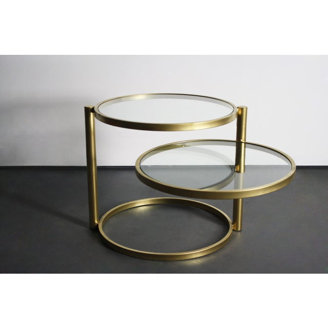 Two Tiered Brass And Glass Coffee Table: Milo Baughman Brass Two-Tiered Coffee Table