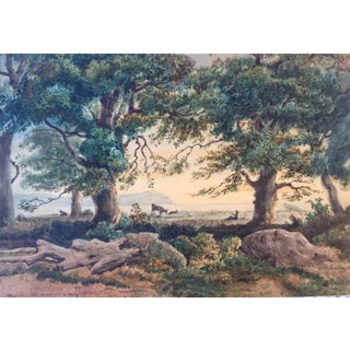 Antique French Landscape Watercolor by Rouet