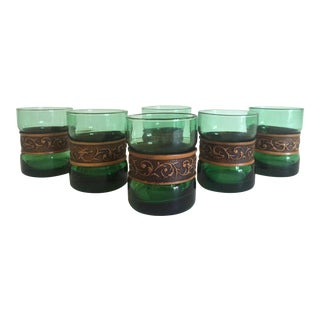 Vintage Mid-Century Emerald Green & Banded Tooled Leather Glasses - Set of 6