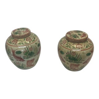 Chinese Glazed Jars - a Pair