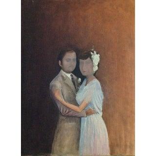 Vintage Surreal Lovers Oil Painting
