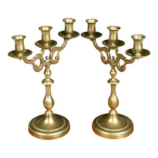 19th Century Georgian Brass Candelabras - Pair