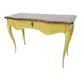 French Mahogany & Yellow Console Table