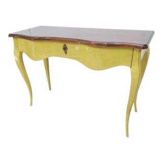 French Mahogany & Yellow Console Table