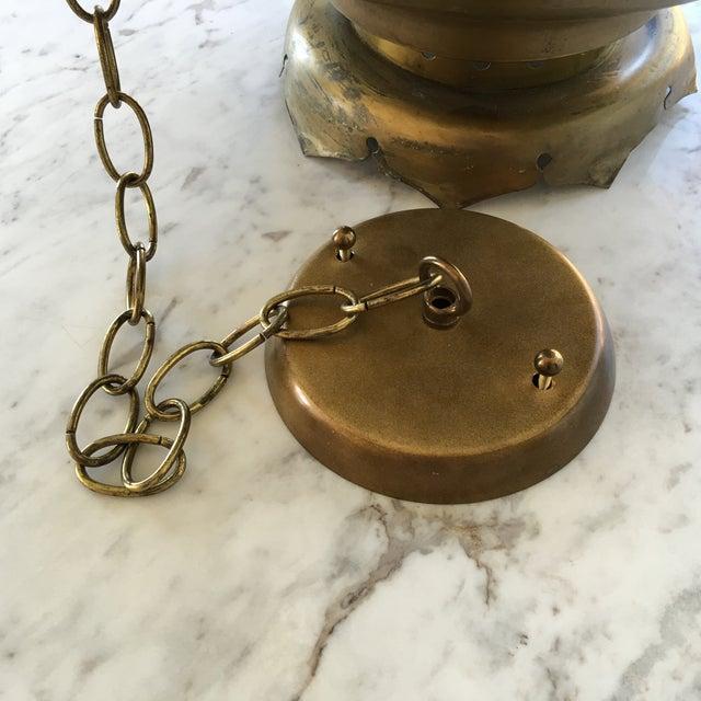 Midcentury Moroccan Brass Pendant Light - Image 9 of 10
