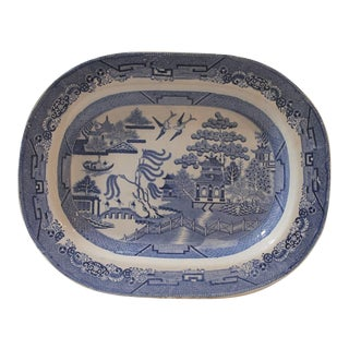 Early 19Th C Monumental English Blue Willow Turkey Platter
