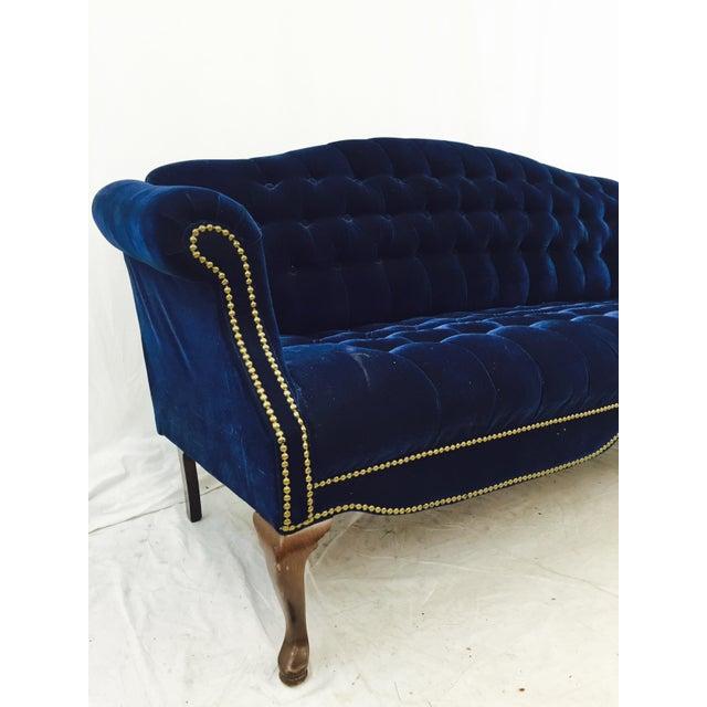 Vintage Navy Blue Tufted Velvet Loveseat Chairish