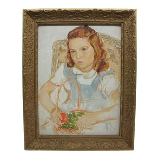 Portrait of Young Girl With Apples Oil Painting