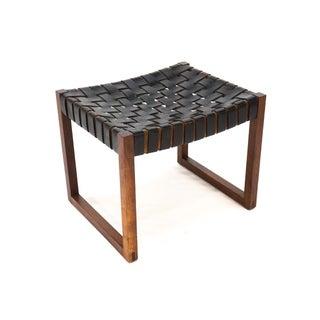 Woven Leather and Walnut Low Stool