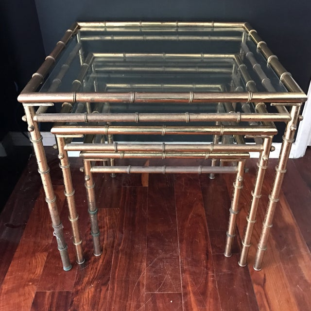 Vintage Faux Bamboo Brass Nesting Tables - Set of 3 - Image 6 of 9