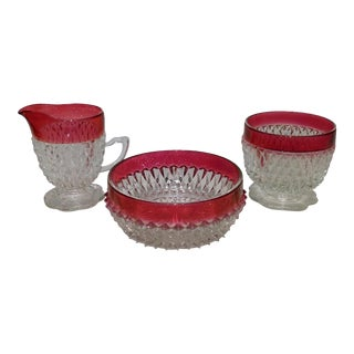 Vintage Ruby Flash Diamond Point Glass Condiment Set - S/3