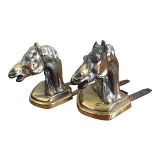 Antique Brass Horse Bookends - A Pair
