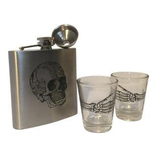Skull-Inscribed Flask & Shot Glasses - Set of 3