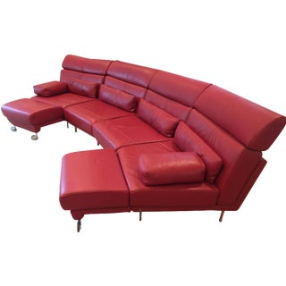 Natuzzi 4-Piece Red Leather Sectional