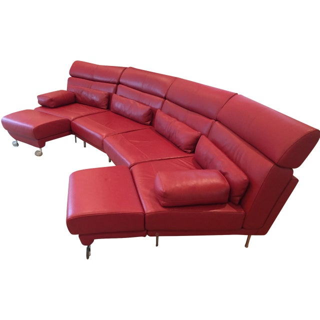 Natuzzi 4 piece red leather sectional chairish for Natuzzi red leather sectional sofa