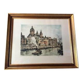 Original Etching of European City