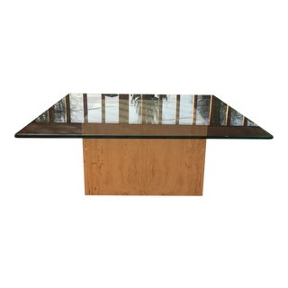 Modern Cube Travertine & Glass Coffee Table