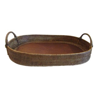 Rattan Wicker Tray With Handles