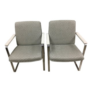 Mid-Century Chrome & Fabric Chairs - A Pair