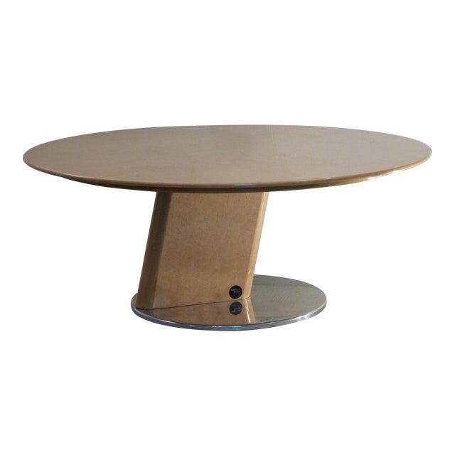 Saporiti beech wood steel coffee table chairish
