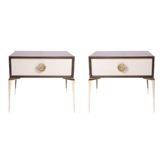 Customizable Colette Brass Nightstands in Ebony & Ivory by Montage, Pair