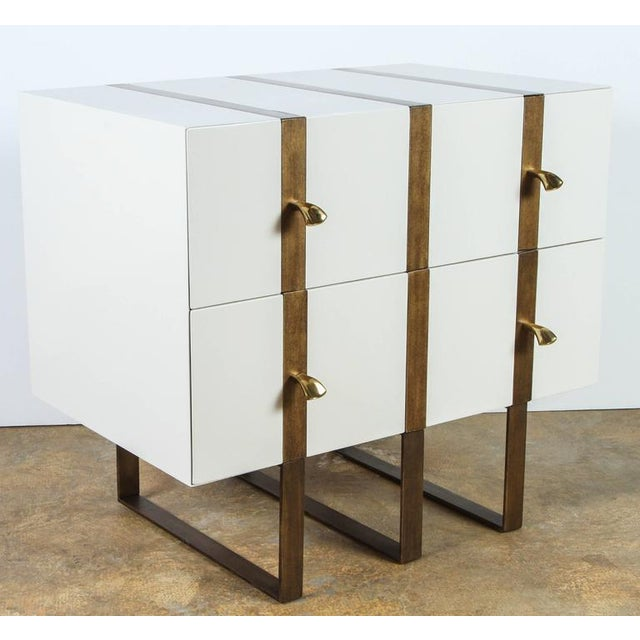 Paul Marra Two-Drawer Banded Chest in Lacquered Finish and Inset Iron Band - Image 4 of 8