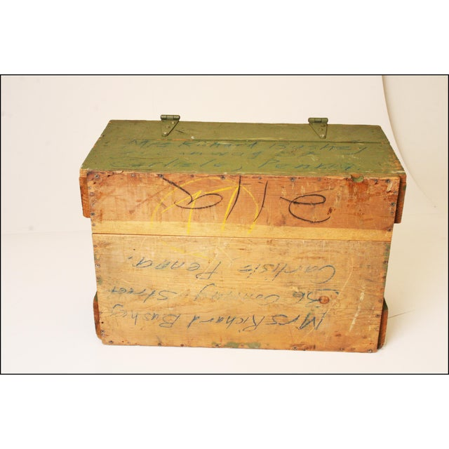 Vintage Distressed Green Military Trunk - Image 11 of 11