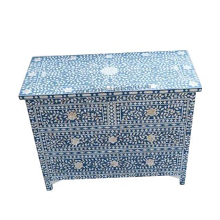 Mother of Pearl Inlay Blue Chest of Drawers