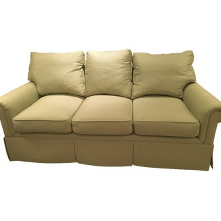 "72"" Green Upholstered Self-Welt  Sofa"