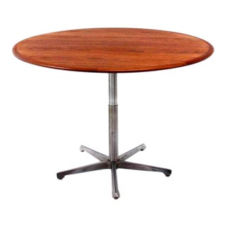 Hi Lo Convertible Coffee Dining Dinette Teak Table on 5 Point Star Base.