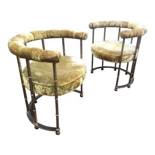 Mastercraft Style Brass Faux Bamboo Lounge Chairs - A Pair